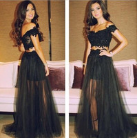 best graduation dresses - Black Tulle See Through Prom Dresses Off shoulder Backless Appliques Lace Sexy Graduation Party gowns Custom made Sheer Best selling