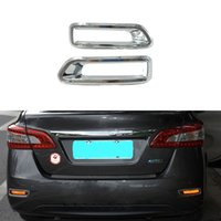 accessories nissan sentra - 2Pcs Set ABS Chrome Styling Rear Tail Fog Light Lamp Cover For Nissan Sylphy Sentra Car Decoration Accessories