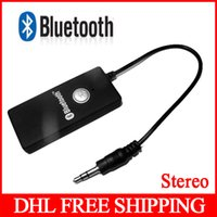 Wholesale 50pcs Bluetooth Transmitter Stereo HiFi A2DP Stereo Audio Dongle Connector mm Receiver Audio Dongle Adapter