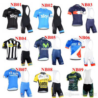 bicycle wear - 2015 New Style Team Sky Movistar And Lotto Cycling Jersey Set Short Sleeve Padded Bib Trousers NB01 NB09 Bicycle Wear Anti Pilling Suit