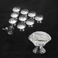 Cheap 10pcs lot Multi-color 30mmDiamond Shape Crystal Glass Pull Handle Cupboard Cabinet Drawer Door Furniture Knob Wholesales sls-z-30