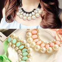 beaded best western - 2015 New arrival Hot sale best quality NEW Fashion Western Statement Elegant Pearls Candy Color Choker Pendant Chain Necklace