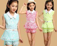 teenage fashion - Teenage girls suit fashion lady style lace youth two piece set with waistband sleeveless tops shorts big kids clothing sets ab2483