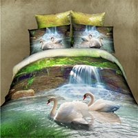 Cheap Wholesale-home textile ,marvelous 3d bed linen swans print queen size duvet cover bed sheet pillow cases bedding set