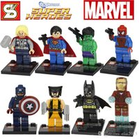 Wholesale Super Heroes Avengers Iron Man Hulk Batman Building Blocks Minifigures Toy SETS for without original boxes
