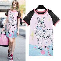 al por mayor vestidos estampados de cebra de color rosa-El nuevo vestido de partido de Causual de una sola pieza de Lovly del color de rosa del estampado de zebra de las mujeres del invierno del otoño libera el envío