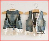 Unisex denim waistcoat - 2015 Hot Sale Child Lace Cardigan Summer Sleeveless Coats Girl Vest Kids Blue Denim Waistcoat Children Outwear Girls Cute Lace Waistcoats