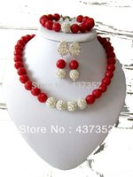 carved coral - African Nigerian Wedding Jewelry Set Artificial Carved Flower Coral Beads Jewelry Set Necklace Bracelet Clip Earrings CWS