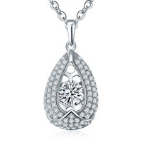 beautiful pendant designs - Moving Stone Waterdrop Design Sterling Silver Pendnt Necklaces With White Gold Plated For Women s Beautiful Wedding Engagement DP59310A