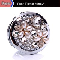 double vanity - 1Pc Beauty Pearl Flower Pocket Compact Crystal Handbag Mini Mirror Makeup Cosmetic Portable Double Side Lady Vanity Mirrow
