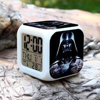 plastic table clock - Star Wars LED Color Changable Thermometer Calendars Digital Alarm Clocks Yoda Despertador Star Wars Figure Anime Table Clock B253
