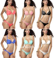 Wholesale 2015 Newest Sexy Women s Swimsuit Multi straps Athletic Fitness Wears Swimsuit Push up Padded Swimwear Bikini Sets Colors Sizes