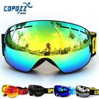 Wholesale New COPOZZ brand professional ski goggles double UV400 anti fog big ski mask glasses skiing snowboarding men women snow goggles