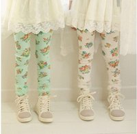 Girl small wholesale lots - children clothes spring girl cute Idyllic small floral gauze floral leggings dandys