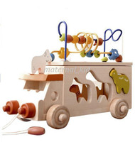 wood sheep - baby toys Wooden truck animal matching cow sheep elephant deer dog with Coil track set wood building blocks kids toy