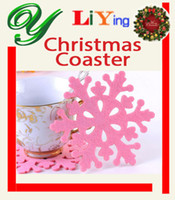 Non Woven Fabric non-woven ECO Friendly Christmas Mug Coaster Table Mats Snowflake Pads dinner set Party Decorations Home non-woven 12cm Heat Insulation Antiskid 6 colors Placemats