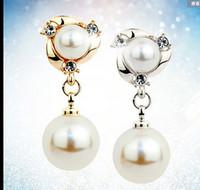 Wholesale Pearl earrings silver earrings female temperament long section of the new ear clip earrings non pierced earrings