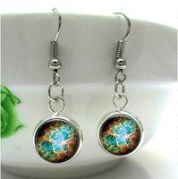 art glass earrings - HE29 Nebula Charm Nebula jewelry Crab Nebula Earring glass dome art cameo Glass