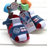 Wholesale 2016 new summer baby shoes good quality cow boy denim blue baby kids cotton sandal with size label clip size in stock