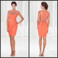 terani - Hot Sale Orange Prom Dresses Short Terani C3662 Tulle Illusion Jewel Neckline Sheer Zipper Back Crystal Beaded Pleated Cocktail Dresses
