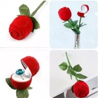 Wholesale Fashion Rose With Branch Wedding Ring Earring Pendant Jewelry Display Gift Box Red