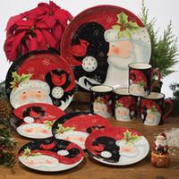 american tableware - Ceramic fashion american rustic christmas west tableware decoration plate hanging plate mug bowl