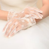 Cheap 2015 Hot! Women Wedding Bridal Lace Gloves Accessories Bride Tulle Flowers Ivory Ruffles Glove Car Drive Sun Protection Hand Wear