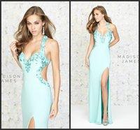 Cheap Aqua Cut Out Prom Dress Beaded Long Elegant Prom Dresses With Slit Halter Backless Sheath Vestido De Festa 2015 Aqua Cut Out Prom Dress