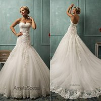 Cheap 2014 New Amelia Sposa Wedding Dresses With Sweetheart Appliques Sash Mermaid Court Train Lace Tulle Hot Custom Glamorous Church Bridal Gowns