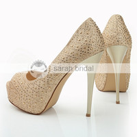 Wholesale Luxury Rhinestone Crystal Wedding Dress Shoes Open Peep Toe Stiletto Heels Champagne cm Lady Prom Party Evening Bridal Accessories