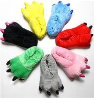 Wholesale Family Unisex Mens Womens Children Mom Daddy Cartoon Animal Kigurumi Slippers Cosplay Paw Claw Home Flat Shoes Warm Winter Indoor Top Sales