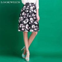 high waisted shorts - Lookween Flower Pleated Short Skirt Womens Fashion Clothing Above Knee Floral High Waisted Black Skirt A29