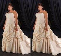 Wholesale Plus Size Champagne Wedding Dresses Strapless Sweetheart Sweetheart Beaded Long Bridal Gowns Taffeta Ruffles Pleats Wedding Gown