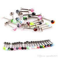 Wholesale 20Pcs Ball Lip Rings Bar Labret Stud Piercing Jewelry Stainless Steel H6526 W0 SUP5