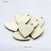 craft supplies - One hole unfinished blank wooden heart crafts supplies paint wedding key chain ornaments CT1110