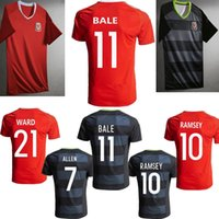 Wholesale Thai quality Wales Euro Soccer jersey BALE home red RAMSEY away black ALLEN TAYLOR WARD Wales football shirt jersey