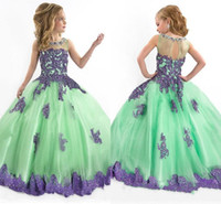 Wholesale 2015 Vintage Ball Gown Flower Girl Dresses Green With Purple Lace Cute Pagent Dresses For Girls Crew Sheer Back Floor Length Gowns
