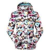 Wholesale GSOU SNOW Women Graffiti Ski Jacket Ladies Waterproof Snowbborad Jacket Outdoor Genuine Windproof Single Plate Ski Clothing
