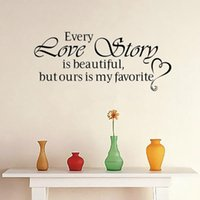beautiful love quotes - Every Love Story Is Beautiful creative quote wall decal ZooYoo8086 decorative adesivo de parede removable vinyl wall sticker