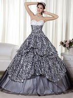 beaded zebra - 2016 New Ball Gown Zebra Print Teens Prom Dresses Sweetheart Black And White Princess Corset Quinceanera Prom Gowns qd6451
