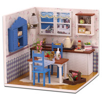 Wholesale DIY Wooden Doll House with Furniture Assembling Toy Novelty Warm Coffee Time Dollhouse Miniature Toys for Children