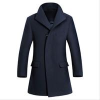 plus size dropship - Fall New fashion wool coat mens Long trench coat jacket plus size outerwear coats men dropship