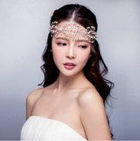 fashion rhinestone crown - 2015 Fashion Vintage Wedding Bridal Women Gold Crystal Rhinestone Forehead Headband Ribbon Hair Accessories Pieces Crowns Tiara Jewelry Set