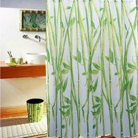 Wholesale Hot Sale Green Bamboo Natural Landscape Design Bathroom Shower Curtain Fabric Hooks56683 Bamboo Natural Landscape HYUK
