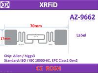 az smart - RFID LABEL PET Material EPC Global Class1 Gen2 ISO C AZ H3 Roll in Stock Free Ship