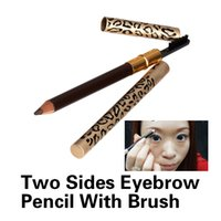 Cheap Wholesale-New Eyebrow Pencil Two Sides With Brush Leopard Design Metal Casing Fashion ES88