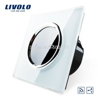 Wholesale Livolo EU Standard Remote Switch VL C702SR CR1 Gang Way White Crystal Glass Panel V Wall Light Remote Switch