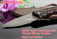 Wholesale Damascus hunting knife Damascus VG10 Japanese steel natural ebony handle survival canivete tatico tactical knives faca militar