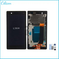 Wholesale 1PC For Sony Xperia Z L36 LCD Touch Screen with Digitizer Frame Assembly Replacement Part L36 L36h L36i C6602 C6603 repair tool