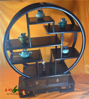 Wholesale Rosewood round mahogany furniture Shelf Chinese antique wood antique curio shelf Home Decoration